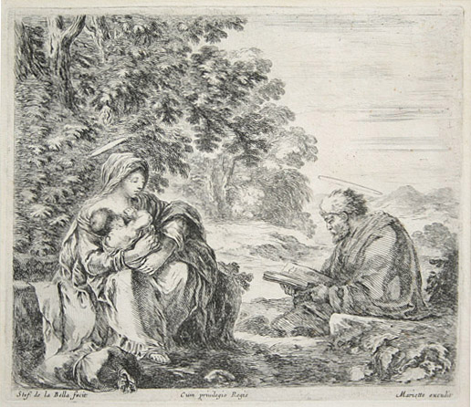 Stefano della Bella: Rest on the Flight Into Egypt. Etching.