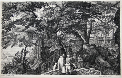 Aegidius Sadeler engraving after P. Stevens: Rock with Trees in Center, a Riverscape at Left.