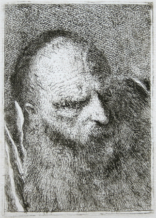 G D Tiepolo Etching Bearded Old Man Seen 3 4 To The Right Looking Down Etching